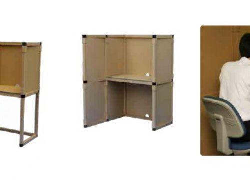 急なリモートワークでも 簡単にパーソナルスペースを確保!日本化工機材の紙製ワークスペース